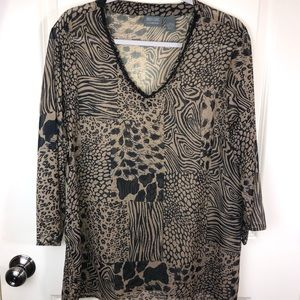 Chico's Sheer Animal Print Tunic Blouse